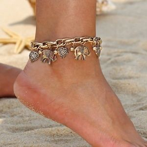 Other - Anklet Chunky Gold with Elephant & Heart Charms